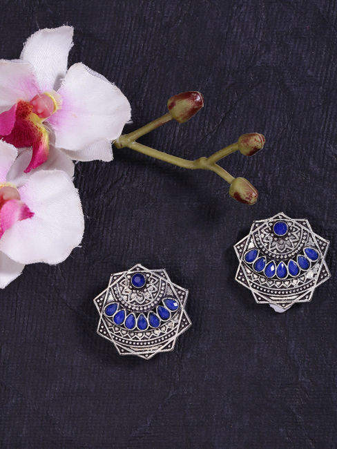 Fida Ethnic Indian Traditional Antique Silver Stud Earrings For Women