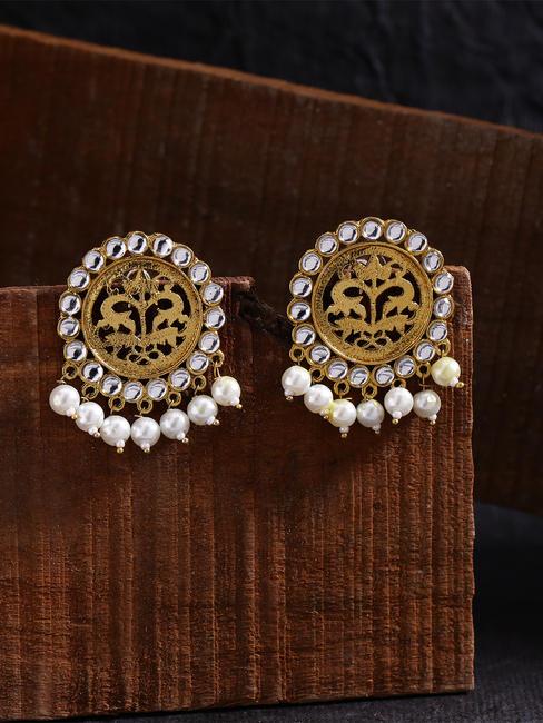 Gold-Toned Circular Drop Earrings