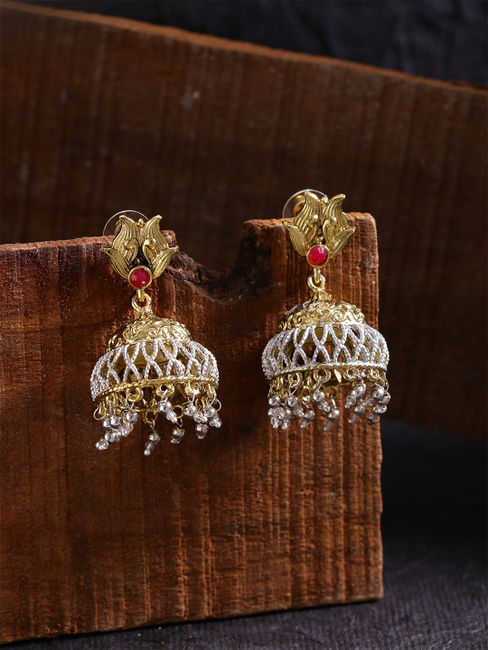 Gold-Toned & Silver-Toned Dome Shaped Jhumkas
