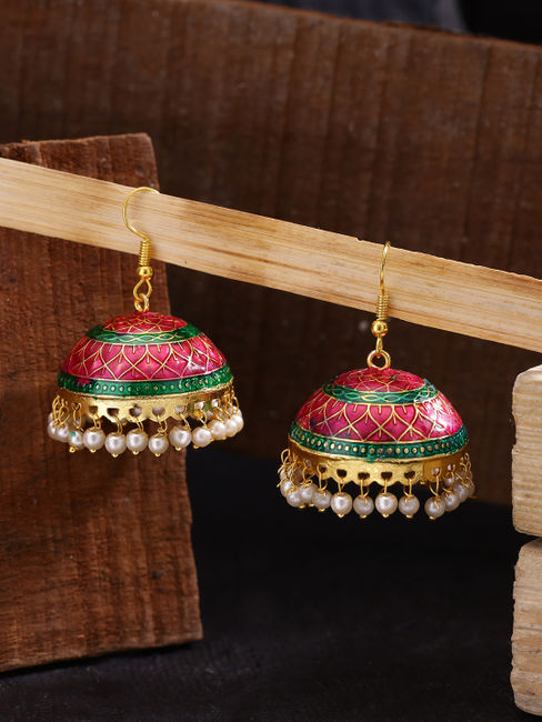 Fida Ethnic Indian Traditional Pink Meenakari Jhumka Earrings For Women