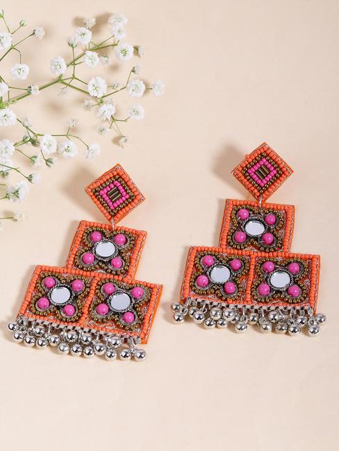 Ethnic Indian Traditional Silver& Orange Drop Earrings for women