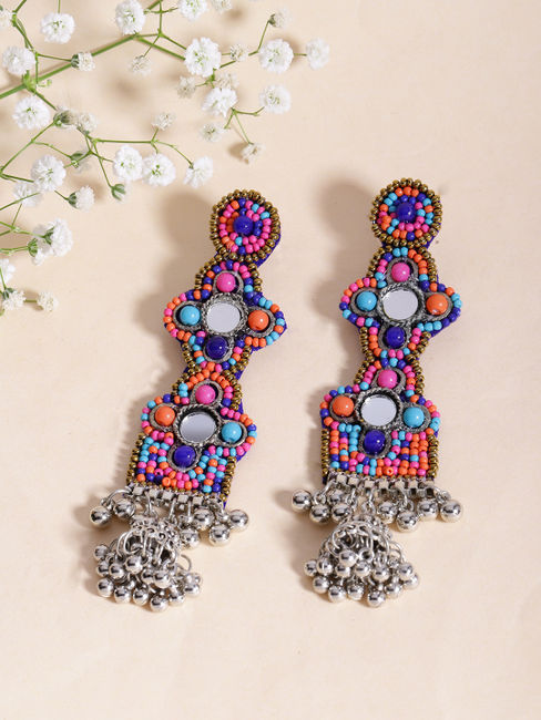 Ethnic Indian Traditional Multicolor Drop Earrings for women
