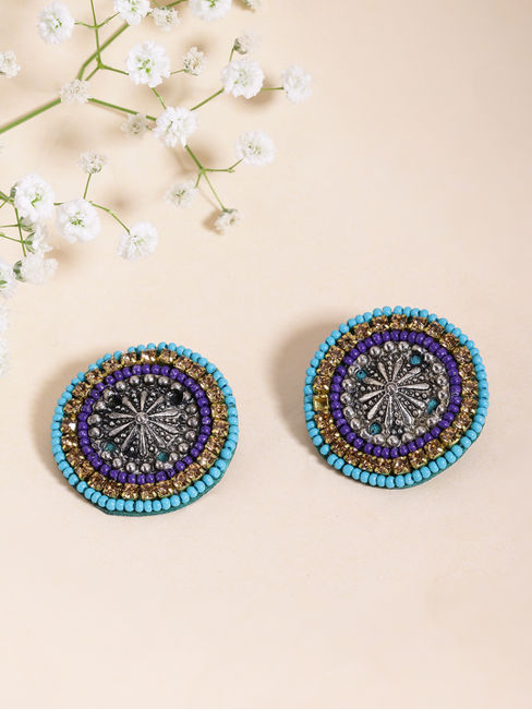 Silver-Toned & Blue Beaded Circular Oversized Studs