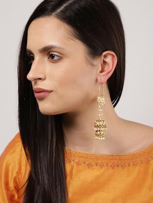 Gold-Toned White Circular Drop Earrings