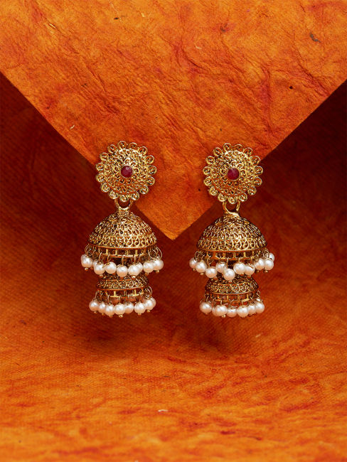 Ethnic Indian Traditional Gold Pearl Embellished Jhumka Earrings For Women