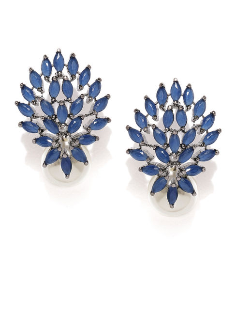 Navy Cz Floral Stud Earring For Women