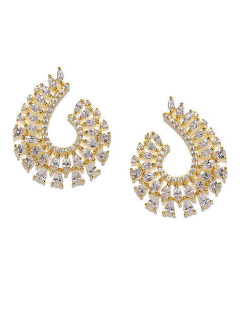 Gold -Plated Cz Oval Drop Earring For Women