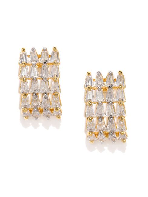Gold-Plated Cz Geometric Earring For Women