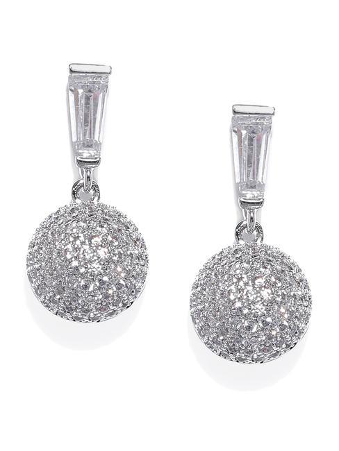 White Rhodium-Plated Cz Circular Drop Earring For Women