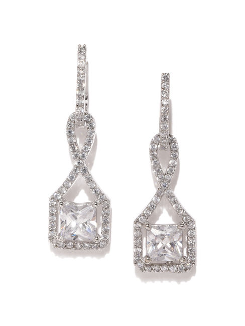 White Rhodium-Plated Geometric Drop Earring For Women