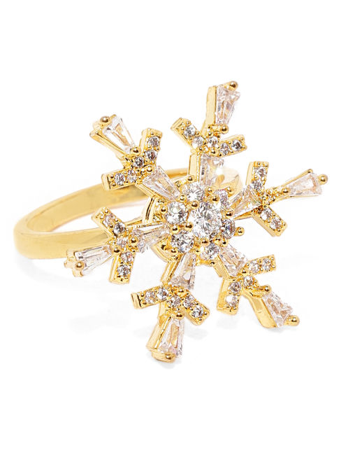 Gold-Plated Cz Finger Ring For Women