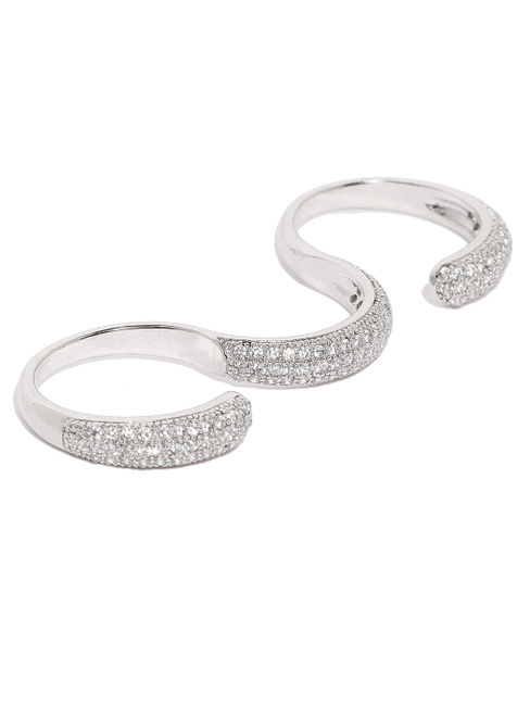 White Rhodium-Plated Cz Dual Finger Ring For Women