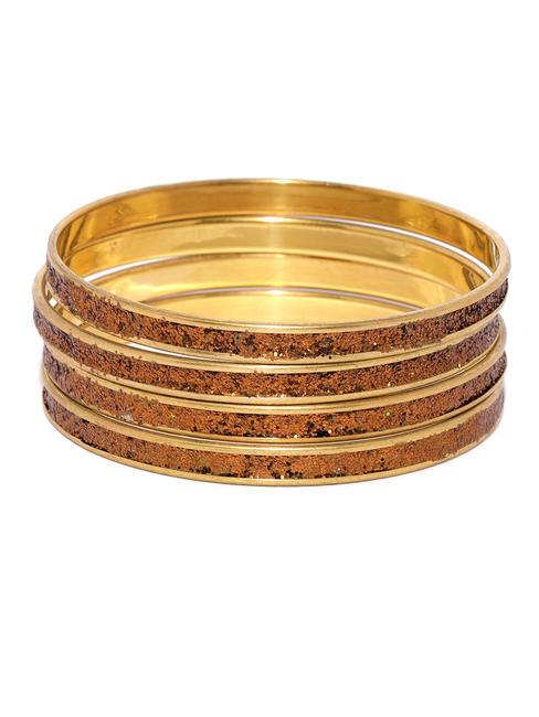 Set Of 4 Copper-Toned Embellished Bangles