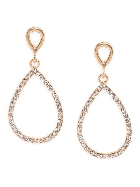 Gold-Toned Teardrop Shaped Drop Earrings