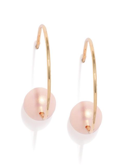 Gold-Toned & Pink Circular Half Hoop Earrings