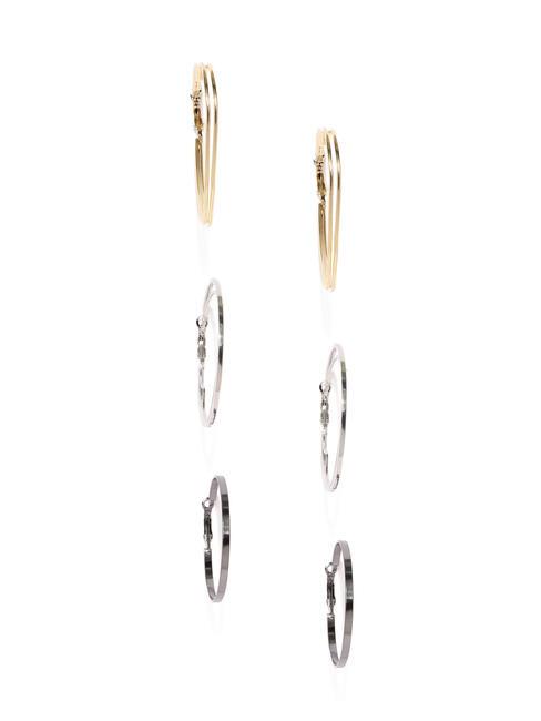 Set Of 3 Geometric Hoop Earrings