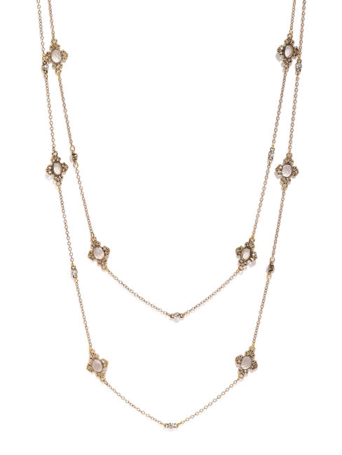 Gold-Toned Stone Studded Layered Necklace