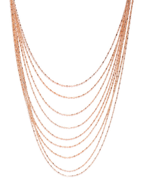 Rose Gold-Toned Multi-Layered Chain Necklace
