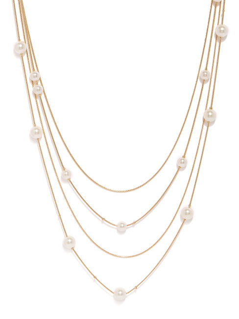 Gold-Toned & White Layered Necklace