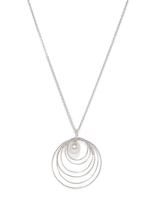 Silver-Toned Round Pendant With Chain