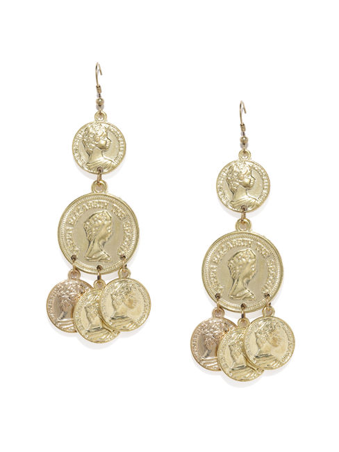 Gold Coin Drop Earrings