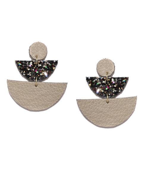Grey Glitter Drop Earrings