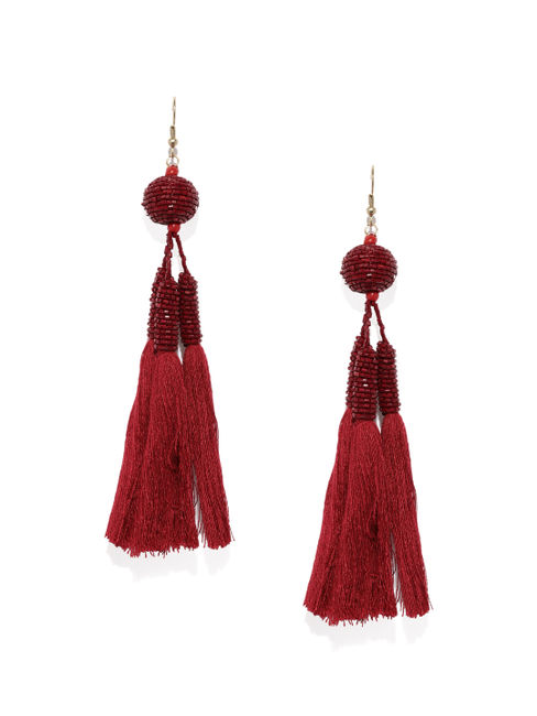 Red Seadbead Drop Earrings
