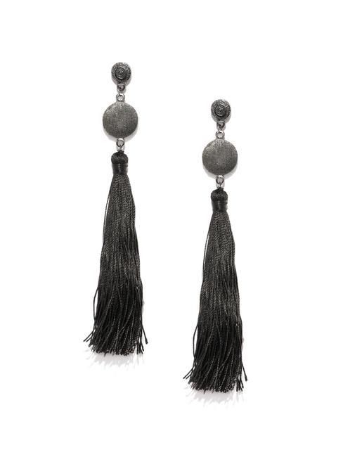 Black Satin Tassel Drop Earrings