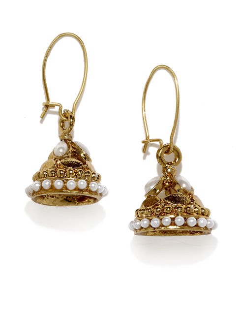 Gold-Toned & Off-White Dome-Shaped Jhumkas