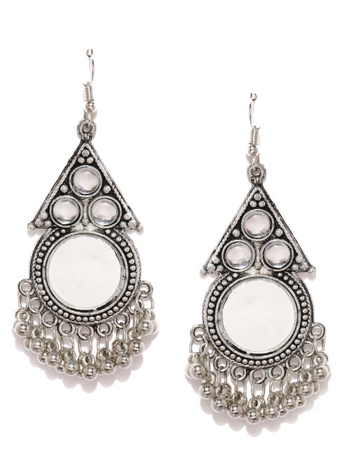 Oxidised Silver-Toned Handcrafted Drop Earrings