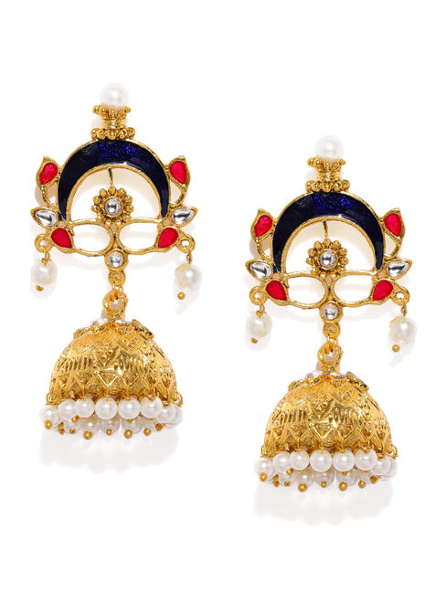 Gold-Toned & Blue Dome Shaped Jhumkas