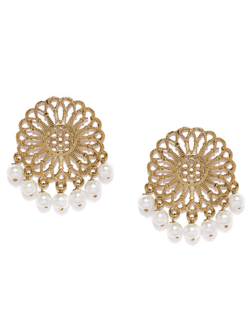 Gold-Toned & White Circular Oversized Studs