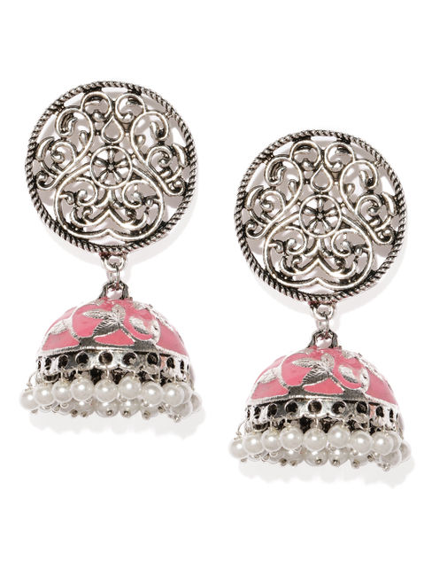 Silver-Toned & Pink Dome Shaped Oxidised Jhumkas