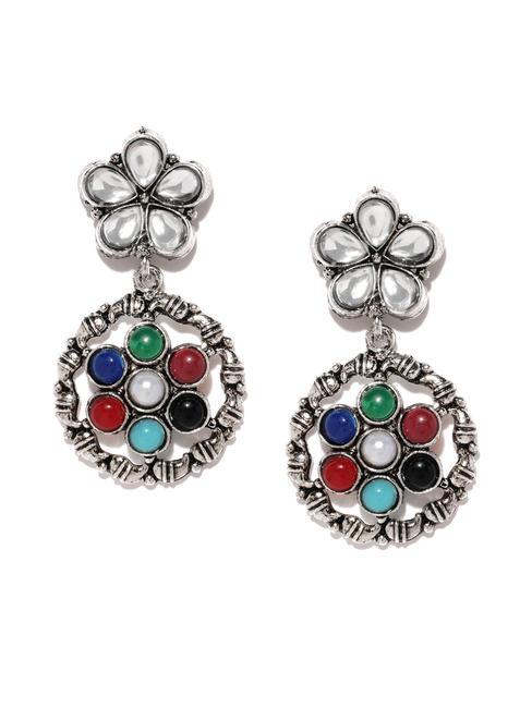 Multicoloured Oxidized Navratna Floral Drop Earrings