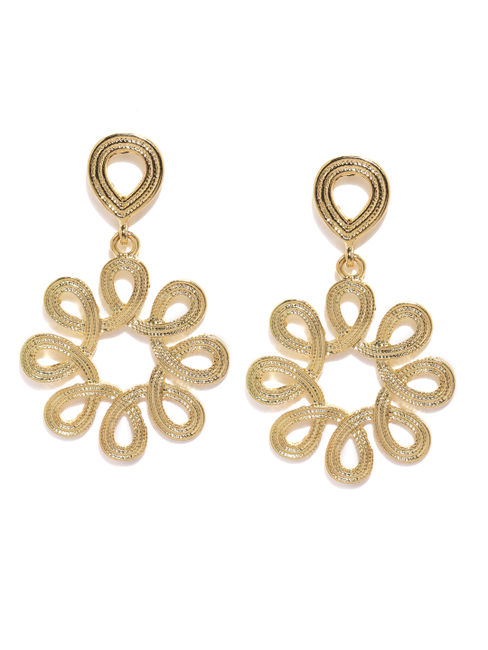 Gold-Tone Contemporary Drop Earring For Women