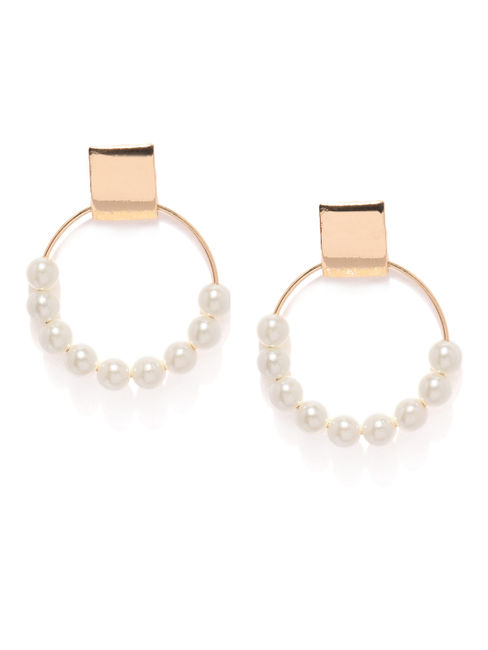 Gold Tone Pearl Circular Drop Earring For Women