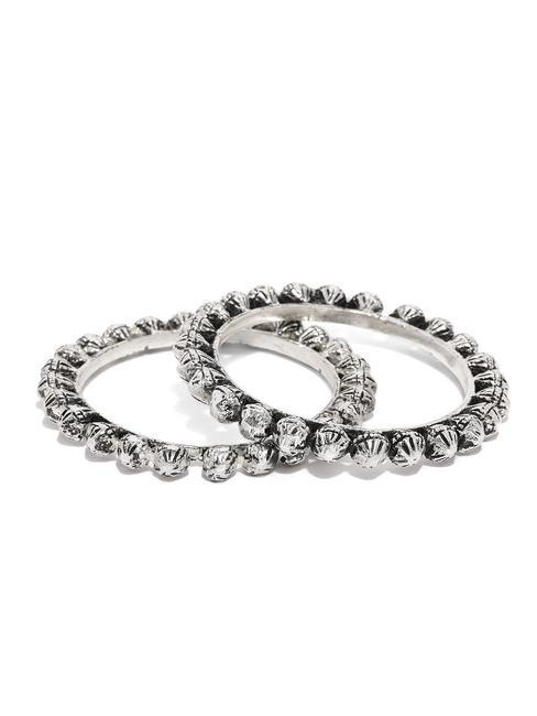 Women Set Of 2 Silver-Toned Oxidised Manika Bangles