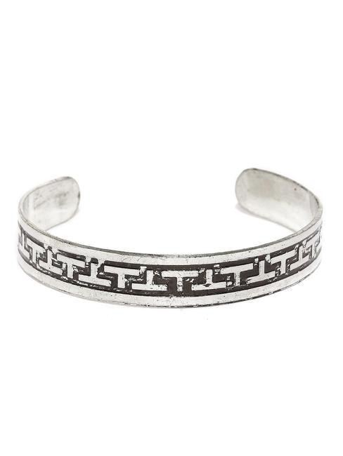 Men Silver-Toned & Black Textured Metal Cuff Bracelet