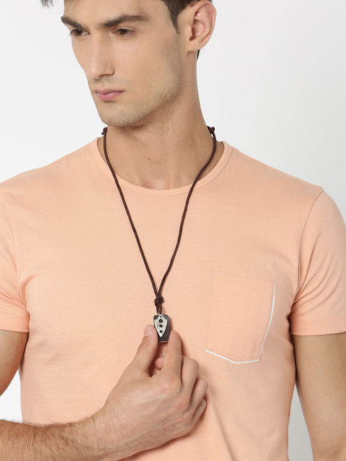 Men Brown Leather Necklace