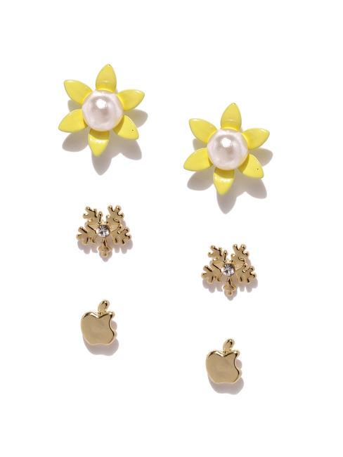 Gold Tone Set Of 3 Stud Earrings For Girls