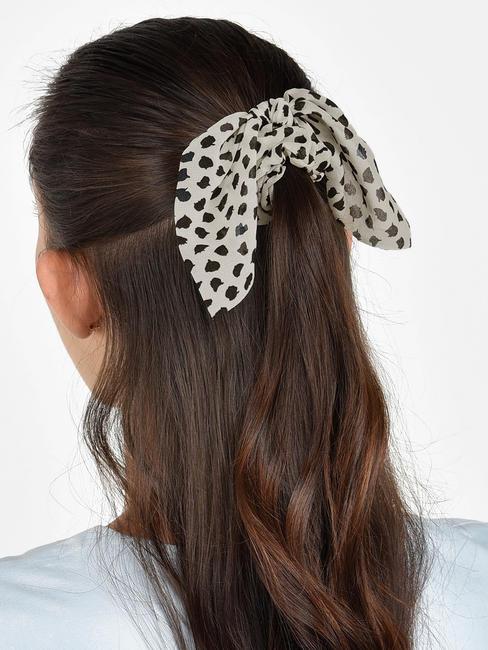 Toniq Set Of 2 Dalmatian Black and White Hair Scrunchie Rubberband For Women