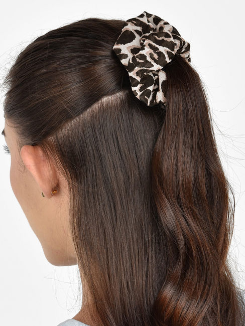Toniq Set of 2 Black Solid and Printed Hair Scrunchie For Women