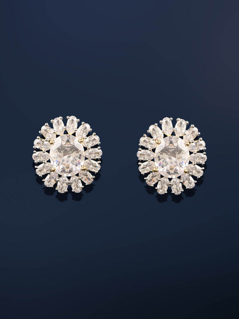 Gold-Plated Cz Circular Stud Earring For Women