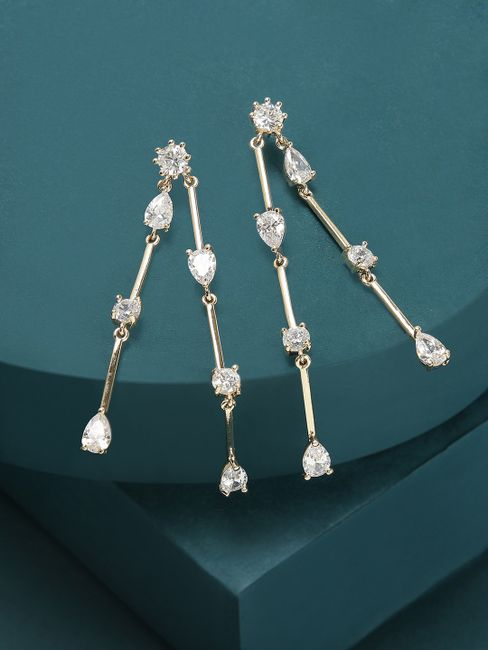 Gold -Plated Cz Contemporary Drop Earring For Women