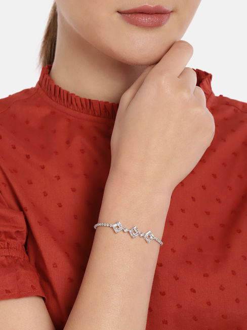 Silver-Toned Rhodium Plated Charm Bracelet