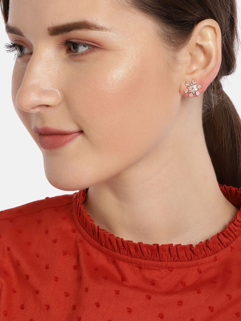 Rose Gold-Toned Floral Studs