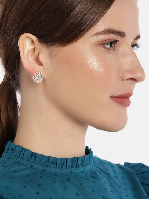 Rose Gold-Toned Floral Geometric Studs