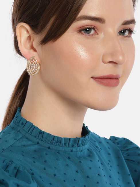 Gold-Toned & White Paisley Shaped Studs