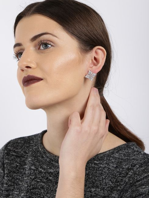 Gold -Plated Cz Contemporary Studs Earring For Women
