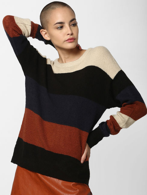 Navy Blue Colourblocked Pullover